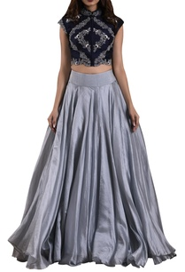 navy-blue-bias-cut-organza-lehenga-with-raw-silk-blouse