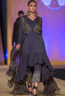 navy-blue-tiered-kurta-with-black-cape-sequin-pants