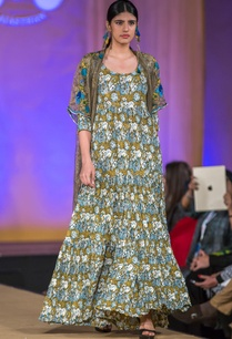 mustard-and-teal-blue-tiered-maxi-dress-with-cape
