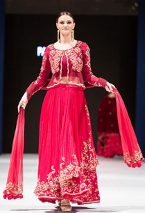 red-double-layer-embroidered-chiffon-lehenga-set
