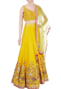 yellow-raw-silk-organza-dori-work-lehenga-with-blouse-dupatta