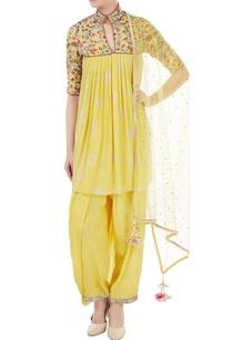 yellow-crepe-net-resham-embroidered-kurta-with-dhoti-dupatta