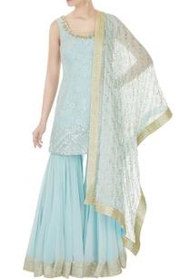 aqua-blue-hand-embroidered-sequin-kurta-with-sharara-pants