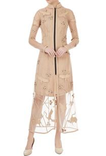 beige-bird-applique-trench-dress