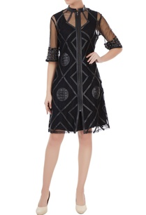 black-clique-of-circle-tulle-net-midi-dress