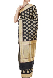 black-karhua-silk-latifa-buti-basant-sari-with-blouse-piece