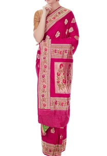 dark-pink-mulberry-silk-butti-work-adi-sari-with-blouse-piece