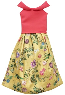 coral-lycra-crop-top-with-yellow-silk-printed-skirt