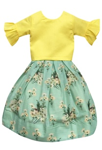 yellow-frilly-crop-top-with-printed-skirt