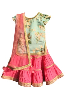 blue-cotton-printed-kurti-with-pink-sharara-dupatta