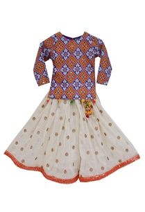 blue-yellow-ikat-printed-kurta-with-lehenga