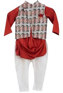 red-kurta-with-printed-nehru-jacket-churidar