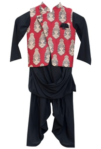black-modal-cotton-kurta-salwar-with-red-printed-nehru-jacket