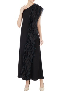 black-korean-crepe-organza-ruffle-detail-one-shoulder-gown