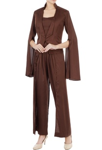 brown-satin-lycra-jacket-set