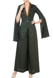 green-satin-lycra-deconstructed-jacket-with-pants