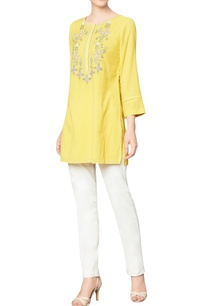 yellow-cotton-georgette-top