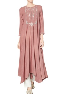 marsala-cotton-georgette-tunic-with-floral-motifs