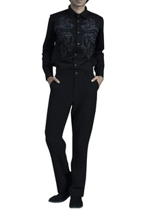 black-cotton-shirt-with-embroidered-dragon-motifs