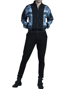black-grey-lace-bomber-jacket-with-leather-detailing