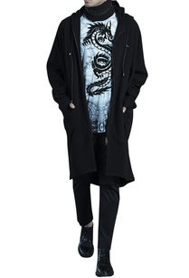 black-high-low-fleece-long-jacket