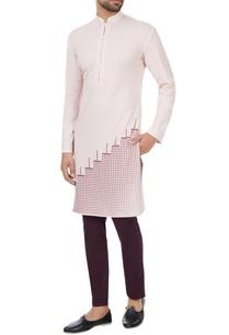 light-pink-polyester-pixel-printed-kurta
