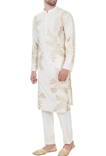 ivory-leaf-motif-kurta-with-unstitched-pyjama-fabric