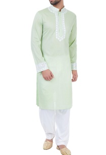 light-green-mirror-work-embroidered-kurta