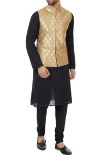beige-poly-silk-gota-hand-embroidered-nehru-jacket