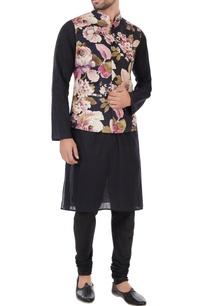 black-pink-floral-printed-nehru-jacket