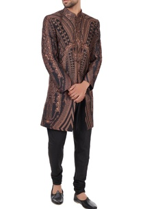 black-peach-poly-silk-sherwani