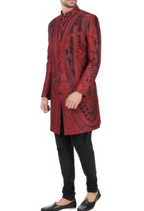 black-maroon-quilted-floral-printed-sherwani