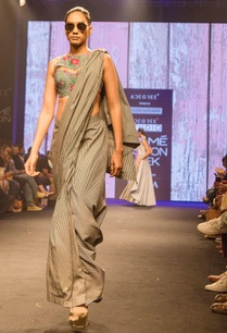 black-white-denim-pre-draped-sari