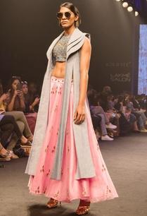 pink-net-raw-silk-flared-skirt