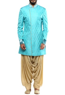 turquoise-angrakha-jacket-with-beige-cowl-pants