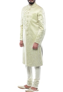 light-green-linen-silk-patch-handwork-sherwani-with-churidar