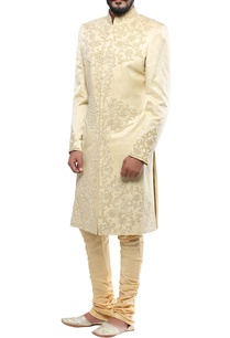 cream-linen-silk-patch-handwork-sherwani-with-churidar