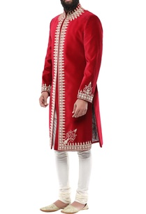 red-velvet-kala-battu-embroidery-sherwani-with-churidar