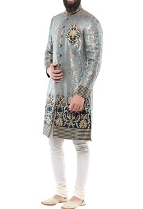 teal-blue-brocade-hand-embroidery-sherwani-with-churidar