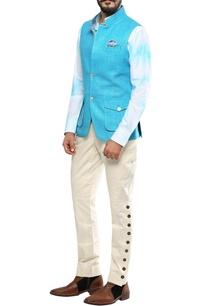 turquoise-blue-matka-silk-nehru-jacket