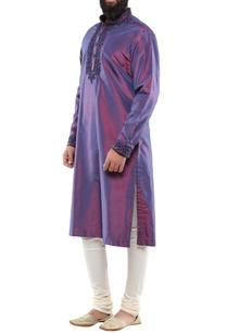 purple-blue-silk-hand-embroidered-long-kurta-with-churidar