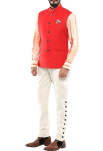 red-linen-nehru-jacket