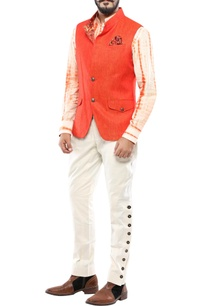 red-linen-two-tone-nehru-jacket-with-convertible-collar
