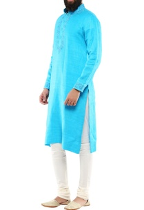 turquoise-blue-matka-silk-embroidered-long-kurta-with-churidar