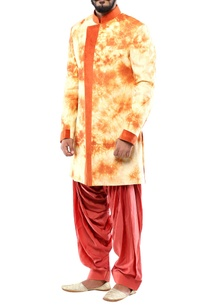 butterscotch-orange-linen-angrakha-jacket-with-patiala-pants