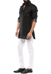 black-linen-short-pathani-kurta