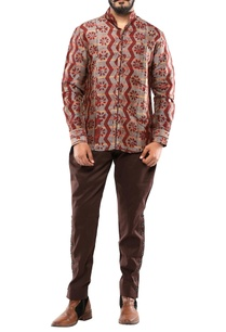 rust-brown-silk-batik-shirt