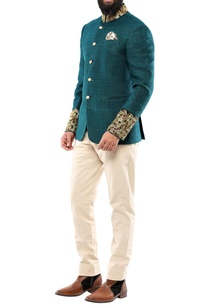 teal-green-matka-silk-jodhpuri-jacket