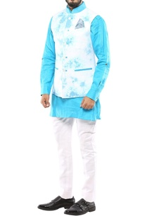 turquoise-blue-white-marble-printed-nehru-jacket