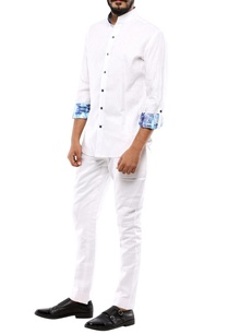 white-button-down-shirt-with-printed-sleeves